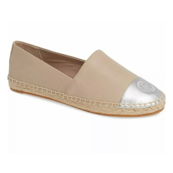 NEW Tory Burch Color Block Logo Espadrille Taupe
